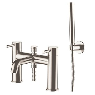 Inox Deck Mounted Bath Shower Mixer With Shower Kit - Stainless Steel