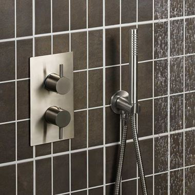 Inox Thermostatic Concealed 3 Outlet Shower Valve - Stainless Steel