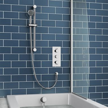 Drench Jemima Concealed Shower Valve, Slide Rail Kit & Overflow Bath Filler
