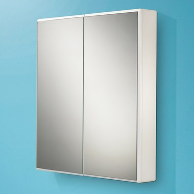 HIB Jersey Slimline White Gloss Double Door Mirrored Cabinet