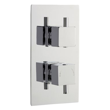 Finesse Minimalist Square Twin Concealed Thermostatic Shower Valve With Diverter