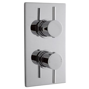 Premier Pioneer Twin Concealed Thermostatic Shower Valve - Round Handles