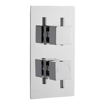 Premier Pioneer Twin Concealed Thermostatic Shower Valve - Square Handles
