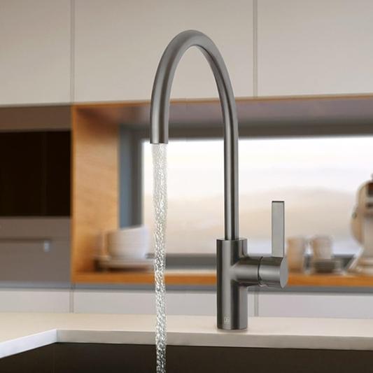 just taps brushed gunmetal grey single lever kitchen sink mixer tap
