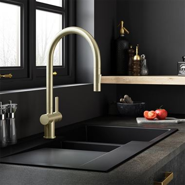 Just Taps VOS Pull Out Single Lever Mono Kitchen Mixer - Brushed Brass