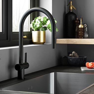 Just Taps VOS Pull Out Single Lever Mono Kitchen Mixer - Matt Black