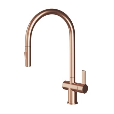 Just Taps Single Lever Mono Pull Out Kitchen Mixer - Rose Gold