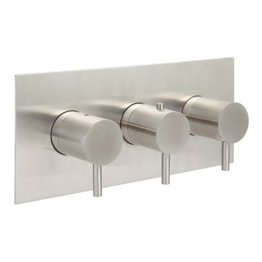 Just Taps Inox Horizontal Concealed Thermostatic 2 Outlet Valve