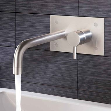 Just Taps Inox Wall Mounted Single Lever Basin Mixer with Backplate