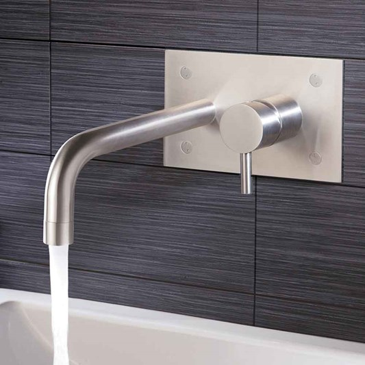 Inox Brushed Stainless Steel Wall Mounted Single Lever Basin Mixer with Backplate