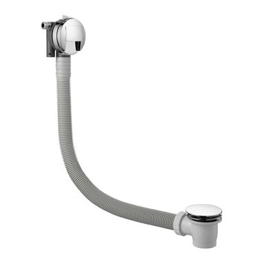 Just Taps Inox Overflow Bath Filler with Pop-Up Waste