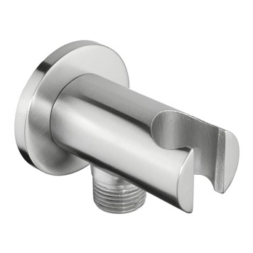 Just Taps Inox Round Shower Outlet Elbow with Handset Holder