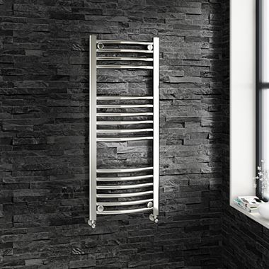 Brenton Chrome Curved Heated Towel Radiator - 22mm - 1000 x 400mm