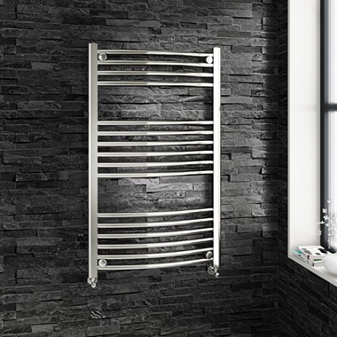 Brenton Chrome Curved Heated Towel Radiator - 22mm - 1000 x 600mm