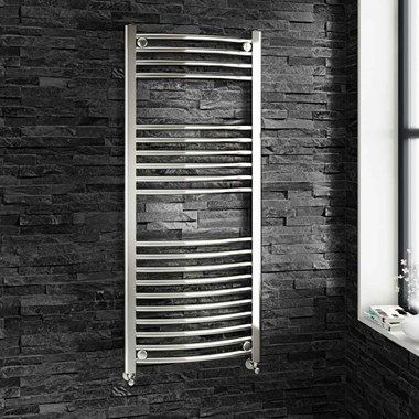 Brenton Chrome Curved Heated Towel Rail Radiator - 1200 x 500mm