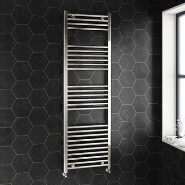 Brenton Chrome Straight Heated Towel Radiator - 22mm - 1600 x 500mm