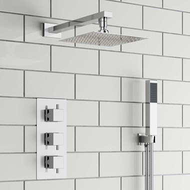 Kalos Square Concealed Shower Valve with Fixed Shower Head & Handset