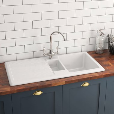 Butler & Rose 1.5 Bowl Ceramic Kitchen Sink and Butler & Rose Victoria Traditional Kitchen Mixer Tap