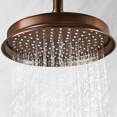 Flova Liberty 225mm Ceiling Mounted Rainshower Head & Arm - Oil Rubbed Bronze