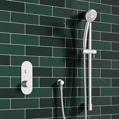 Kimolos Concealed Thermostatic Push Button Shower Valve & Slide Rail Kit
