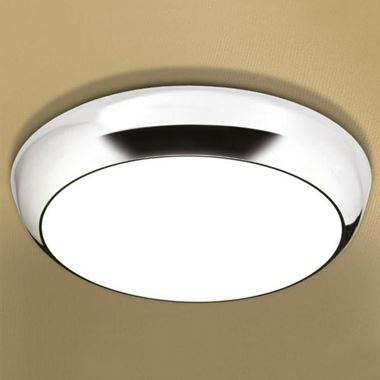 HIB Kinetic LED Illuminated Circular Light with Chrome Detail and Diffused Shade
