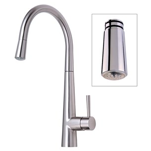 Mayfair Palazzo Glo Brushed Nickel Kitchen Sink Mixer Tap With Led Pull Out Spray