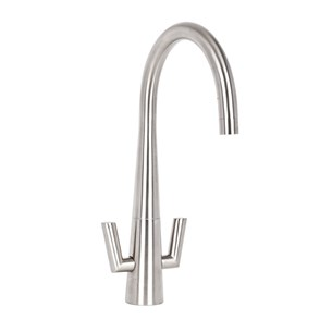 Mayfair Vino Twin Lever Mono Kitchen Mixer Tap - Brushed Nickel