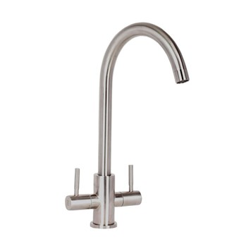 Mayfair Tempo Twin Lever Mono Kitchen Mixer - Stainless Steel