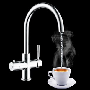 Vellamo Kahvi Instant Hot and Cold Kitchen Sink Mixer Boiling Tap with Boiler & Filter Unit