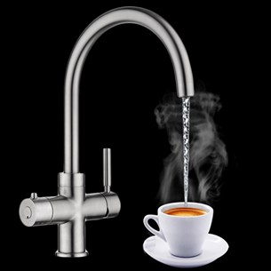 Vellamo Java Instant Hot and Cold Kitchen Sink Mixer Boiling Tap with Boiler & Filter Unit - Brushed Nickel