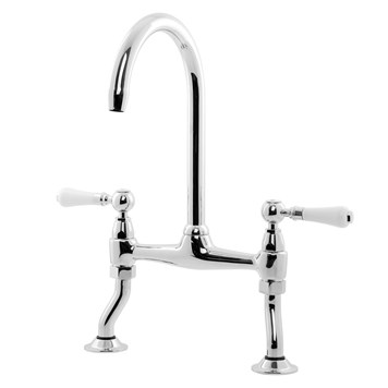Caple Knightsbridge Traditional Kitchen Bridge Mixer with White Lever Handles - Chrome
