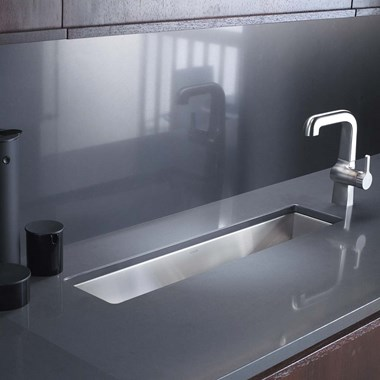 Kohler Icerock Trough 508mm 1 Bowl Brushed Steel Undermount Sink
