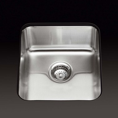 Kohler Icerock 356 x 400 x 194mm Single Bowl Brushed Steel Undermount Sink