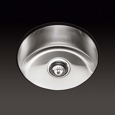 Kohler Icerock 467mm Round Single Bowl Brushed Steel Undermount Sink
