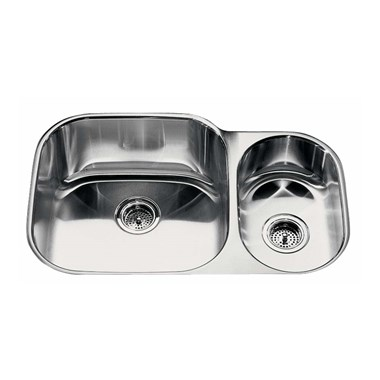 Kohler Icerock 781mm 1.5 Bowl Brushed Steel Undermount Sink - Left Hand Main Bowl