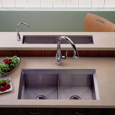Kohler Poise Double Bowl Brushed Steel Undermount Sink