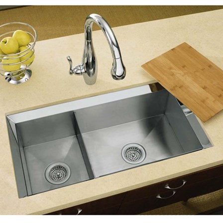 Kohler Poise 175 Bowl Brushed Stainless Steel Undermount Sink 838