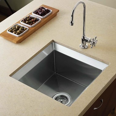 Kohler Poise 457mm Square Single Bowl Brushed Steel Undermount Sink