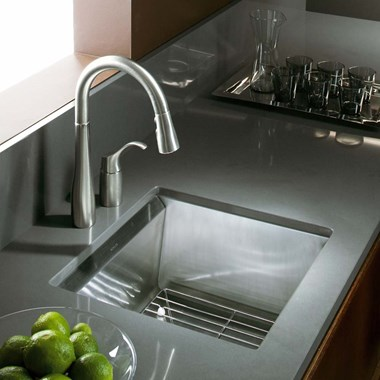 Kohler 8 Degree Entertainment 1 Bowl Brushed Steel Undermount Sink