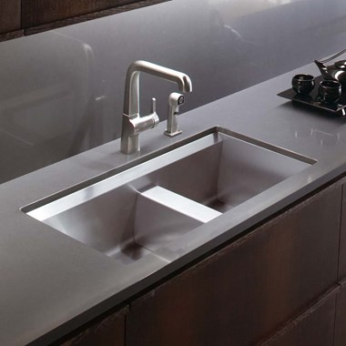 Kohler 8 Degree Offset Double Bowl Brushed Steel Undermount Sink