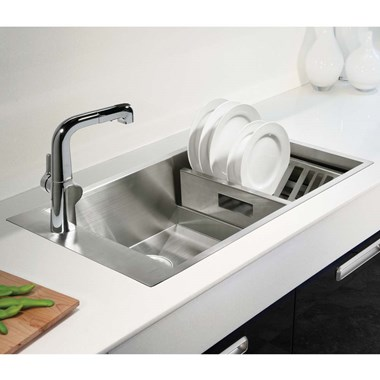 Kohler Geog Single Bowl Brushed Steel Undermount Sink & Accessory Pack