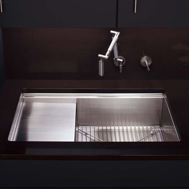 Kohler Stages 838mm Single Bowl Brushed Steel Undermount Sink With Drainer & Accessory Pack