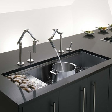 Kohler Stages 1143mm Single Bowl Brushed Steel Undermount Sink With Drainer & Accessory Pack