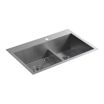 Kohler Vault Smart Divide Double Equal Bowl Brushed Steel Undermount Sink