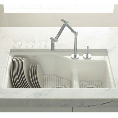 Kohler Indio Double Offset Undermount Cast Iron Sink & Accessories - 2 Tap Hole - White