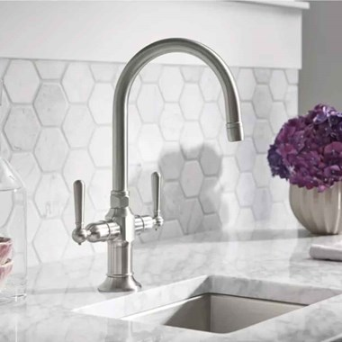 Kohler HiRise Twin Lever Mono Sink Mixer with 'C' Neck Swivel Spout