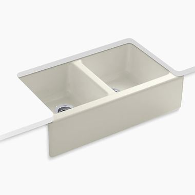 Kohler Hawthorne Apron Front Double Bowl Undermount Biscuit Cast Iron Sink with 4 Tap Holes - 838 x 562mm