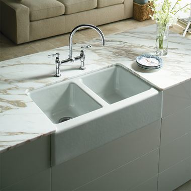 Kohler Hawthorne Apron Front Double Bowl Undermount Cast Iron Sink with 4 Tap Holes - 838 x 562mm