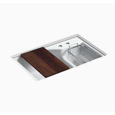 Kohler Indio Double Offset Undermount Cast Iron Sink & Accessories with 2 Tap Holes and Left Hand Main Bowl - 838 x 537mm