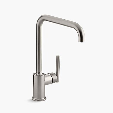 Kohler Purist Single Lever Mono Sink Mixer with Swivel Spout - Brushed Steel